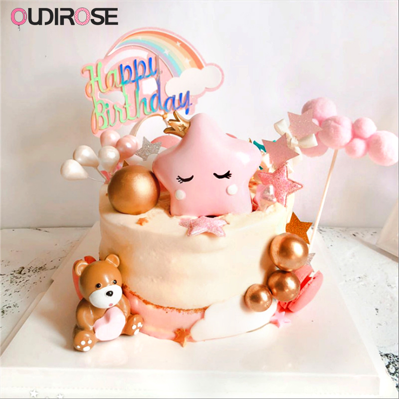Us 6 59 40 Off Cute Resin Cartoon Ornaments Happy Birthday Cake Topper Decoration Bear Cake Toppers Boy Girl Gift Party Baking Wedding Supplies In