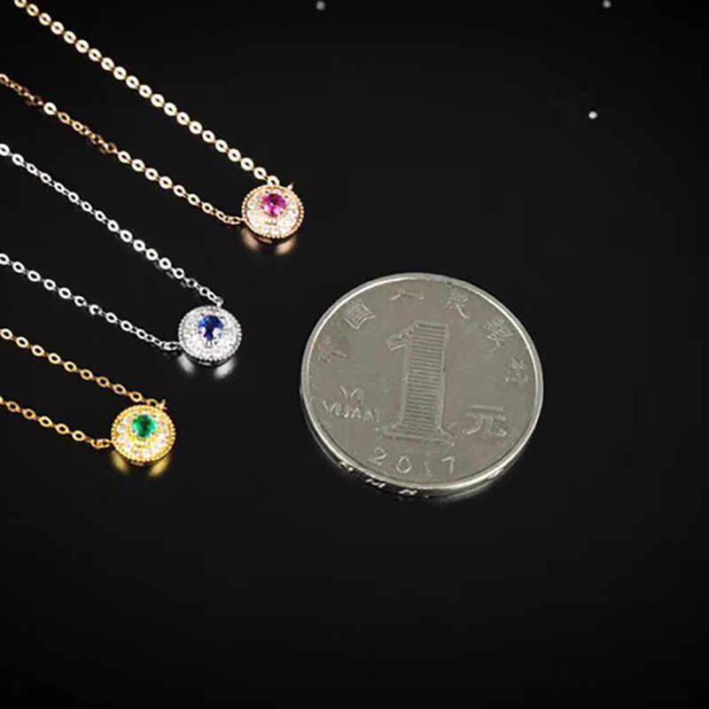 Aazuoリアル18 kイエローゴールドリアルダイヤモンドij si天然ルビーエメラルドサファイアラウンド送料ペンダントネックレス才能用女性Au750