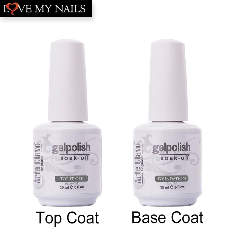15 ml Arte Clavo de alta calidad 1 x No Wipe Top coat y Primer Base Base Gel UV Gel para uñas Gel de uñas Nail Art Builder