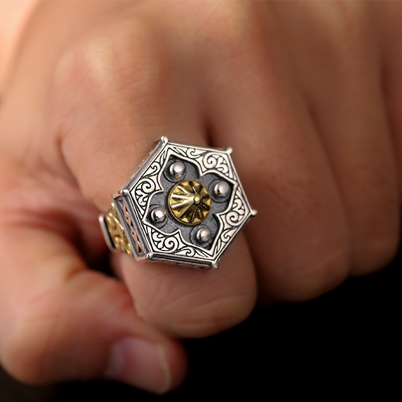 Image 5 - Skills old silversmith 100% 925 Silver old nine door with male  personality the Buddha ring with William ring opening ring925  silversilver 925ring 925 silver