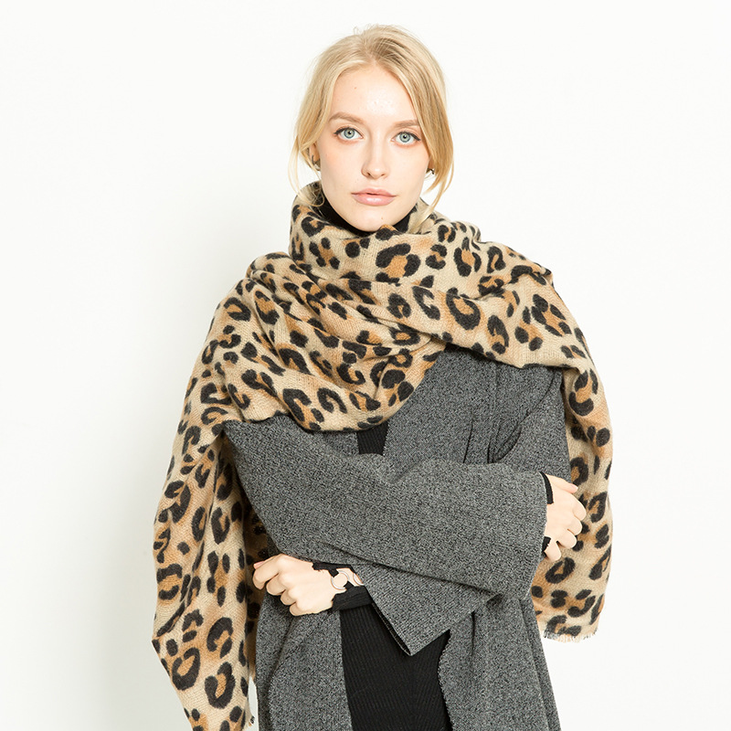 Muchique Leopard Printed Scarf Women Winter Blanket Scarf Warm Soft Infinity Pashmina Scarfs for Ladies Shawl 775143