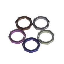 5 Colors EDC Tools Titanium TC4 Ti Key Chains Octagon Key Rings Keychain CNC Size 20mm Outdoor Tools