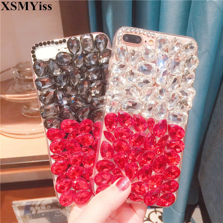 XSMYiss Luxury Rhinestone Phone Case Diamond Crystal Bling Phone Cover Coque Fundas For Iphone X 5C 5 5S SE 6 6S Plus 7 8 Plus