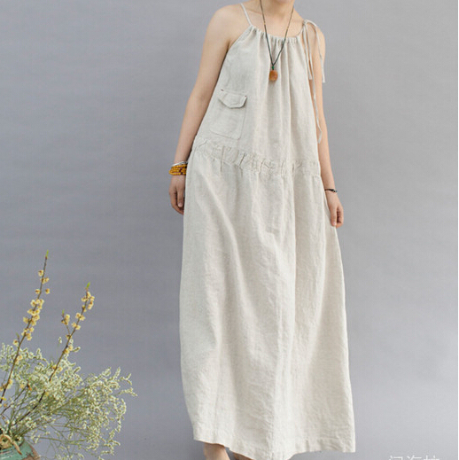 028917fb30 2018 summer style new art women casual dress loose cotton linen spaghetti  strap dress N377