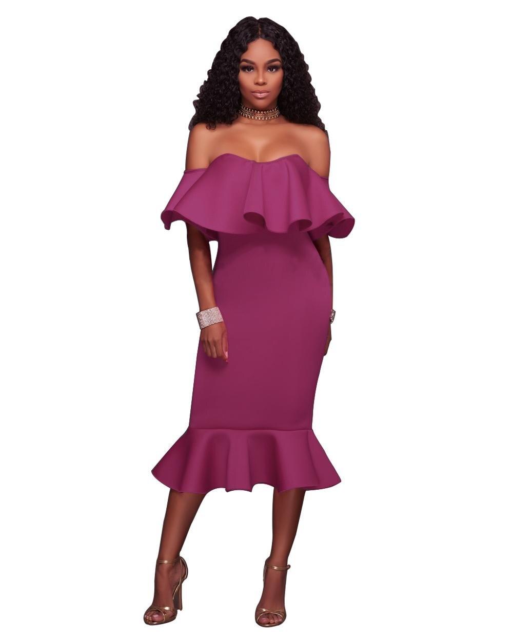 30b43ba4a6 US $9.35 20% OFF Sexy Off Shoulder Ruffle Midi Dress 2019 New Women Sexy  Slim Pencil Bodycon Mermaid Party Dress White Black Pink Dress Vestidos-in  ...