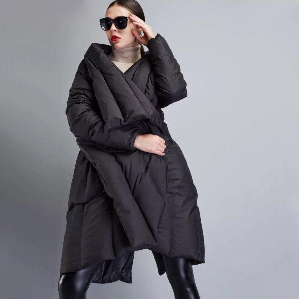 2018 hiver nouveau doudounes pour femmes mode casual longue asymétrique longueur vers le bas manteau Femelle noir Manteau Parka survêtement