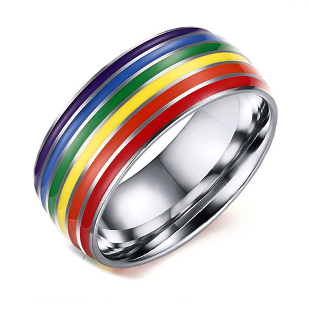 unisex classic engagement wedding band ring 316 stainless steel enamel colourful rainbow ...