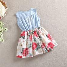 Flower dress set with blue top