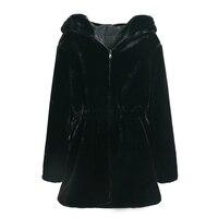 Women Faux Fur Coat Casual Slim Winter Long Faux Mink Jacket With Hood Black Solid Coats Thick Warm Outwear 1.2
