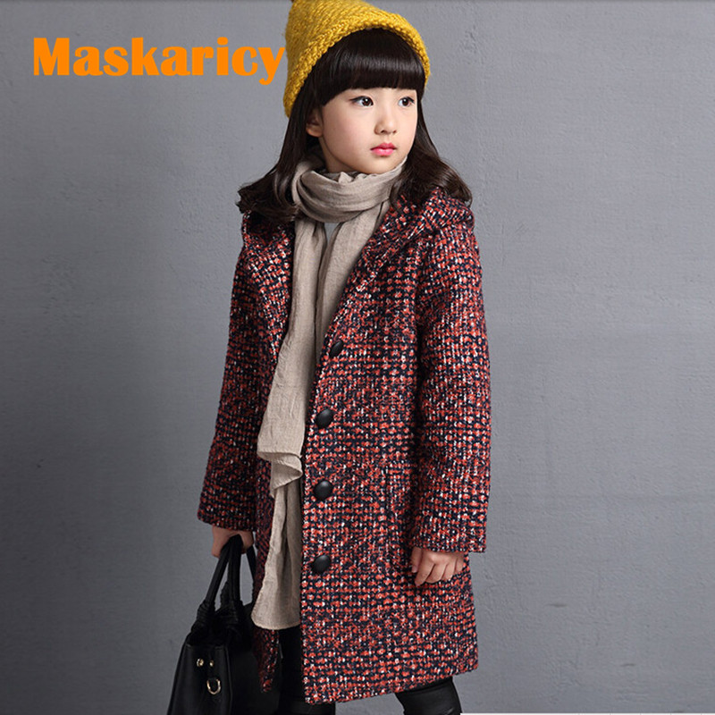 Thicken Woolen Jacket Kids Jacket Winter Outerwear Autumn Jackets For Girls Clothes Trench Coat Children Windbreaker Cardigan a15 girls jackets winter 2017 long warm duck down jacket for girl children outerwear jacket coats big girl clothes 10 12 14 year