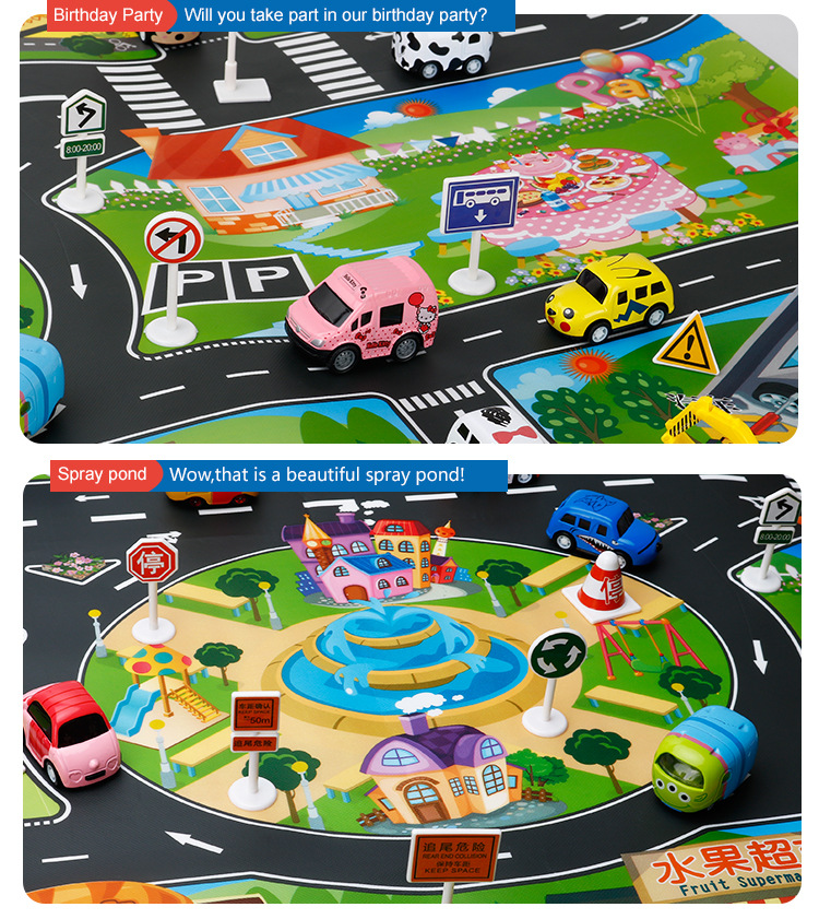 HTB1AjVPciCYBuNkSnaVq6AMsVXaV 39Pcs City Map Car Toys Model Crawling Mat Game Pad for Children Interactive Play House Toys (28Pc Road Sign+10Pc Car+1Pc Map)