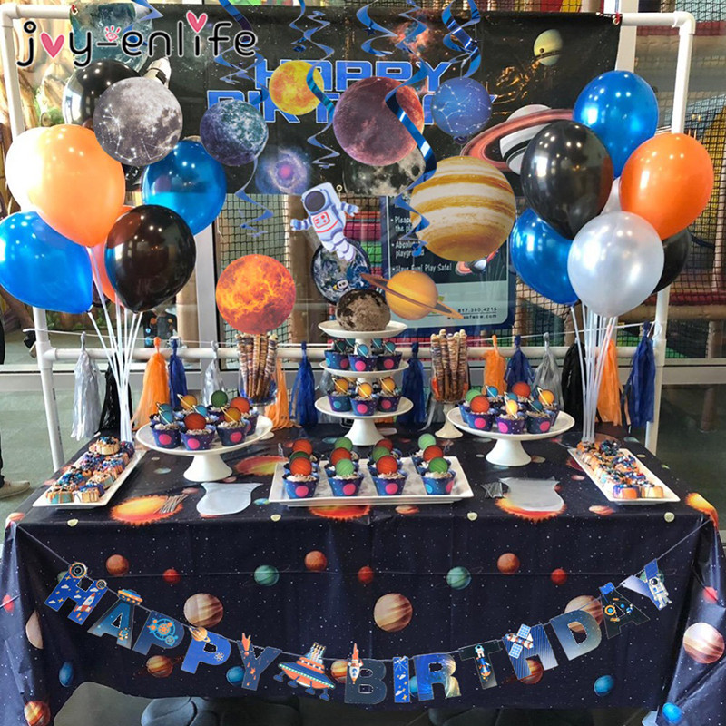UFO Solar System Outer Space Happy Birthday Tableware Decoration Spaceship Astronaut Rocket Robot Theme Birthday Party Supplies in Disposable Party Tableware from Home Garden