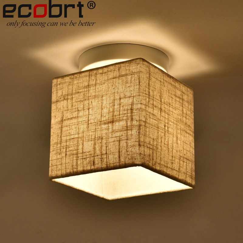 Modern Indoor Square Ceiling Light Fixtures with Fabric Lampshade Decorative Bedroom Mounted E27 PlafonCeiling lamps 220V