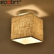 Modern kapalı kare tavan ışık fikstürleri kumaş abajur dekoratif yatak odası monte E27 PlafonCeiling lambaları 220V AC