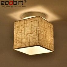 Moderno interior quadrado luminárias de teto com tecido abajur decorativo quarto montado e27 plafonceiling lâmpadas 220 v ac