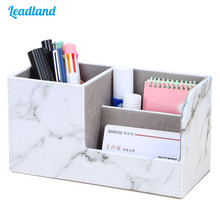 New Marble Small Stationery Pen Holder Pencil Box PU Leather Desk Organizer Cell Phone Stand Name Card Holder Office Storage Box