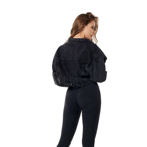 Image 5 - 남자 친구 장 재킷 여자 특대 작물 데님 재킷 빈티지 긴 소매 짧은 재킷 캐주얼 루스 코트 블랙 폭격기 재킷