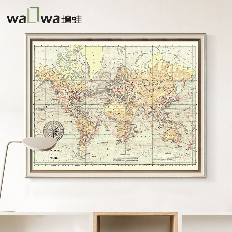 The frog wall map of the world study decorative painting Retro Modern office painting giant Framed Art Museum mural painting