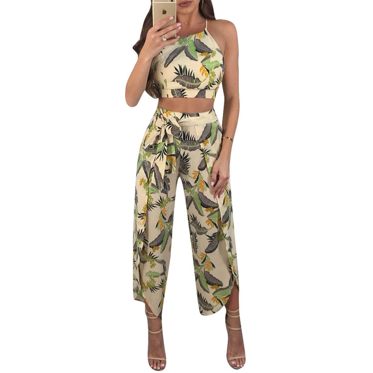 New Sexy floral print strap backless jumpsuits women Solid tie up bow flare opening playsuits Summer beach loose jumpsuit