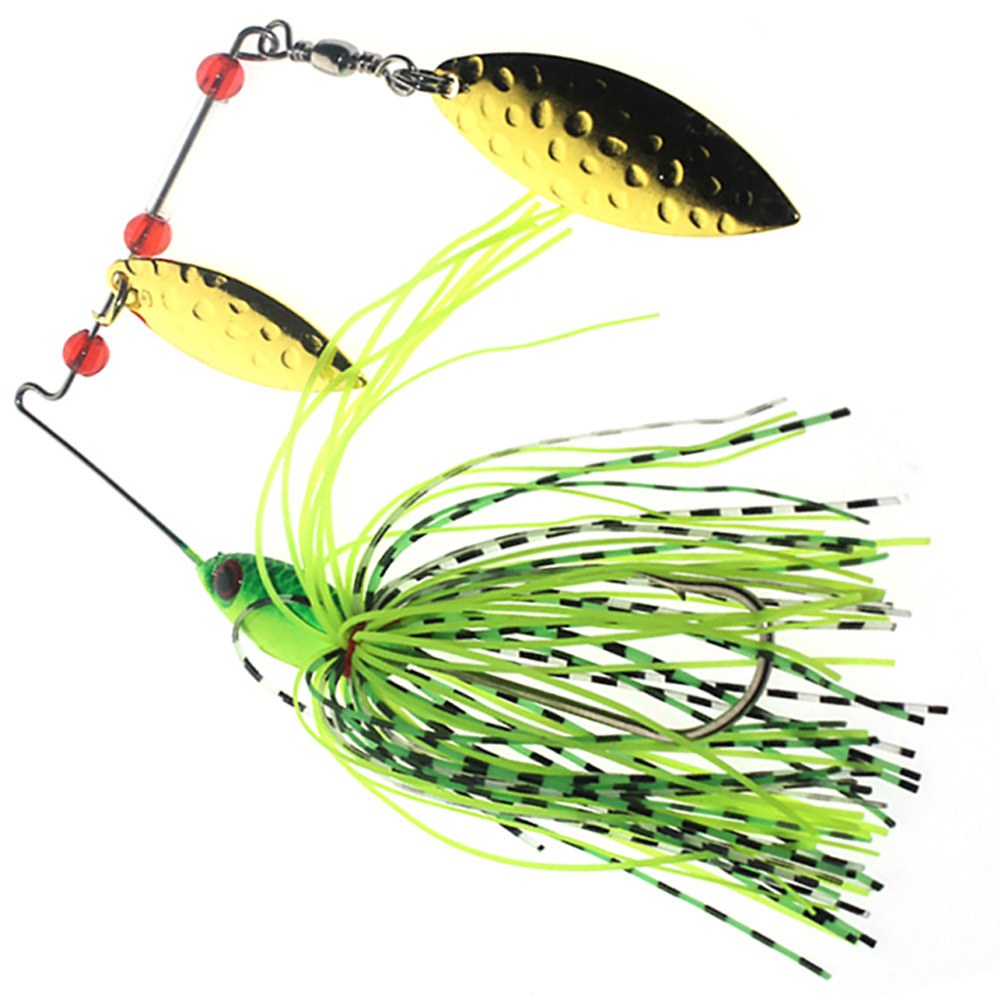 Super high quality spinner bait double reflective golden for Fish eye hook