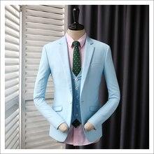 Для Мужчин Англии Повседневное пиджак мужской тонкий мода голубой Костюмы куртка мужской пиджак для Свадебные платья 2018 Новый Жених костюмы