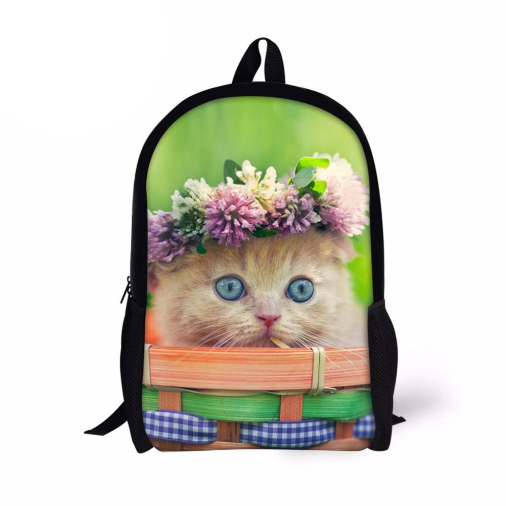 Customized Kids School Bag Cute Cat Print Primary Schoolbag for Teenager Girls 16 Inch Student Bookbag Children Backpack Mochila