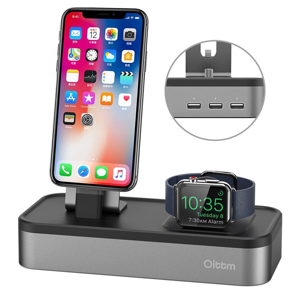 Para A Apple Carregador Relógio, 4 Porta USB Charger Doca para Apple Série Relógio 3/2/iPhone X/8/8 Plus/7/7 Plus/6/6 S de Carregamento Stand