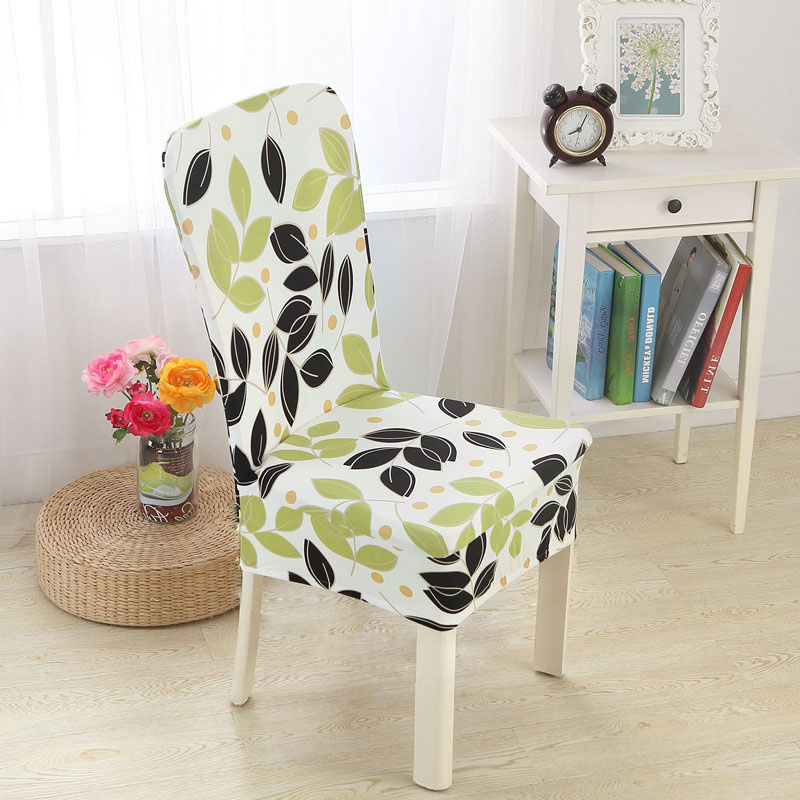 Home Removable Elastic Chair Cover High Stretch Washable Short Dining Room Chair Cover Spandex Seat Cover Protector Slipcover
