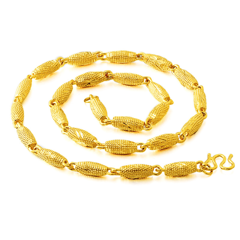Pure Brass Plated 24k Gold Fire Burnt Pattern Olive Bead Necklace Vietnam Sand Gold Necklace Mens Simulation Gold Jewelry