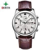 Luxury Top Brand North Men Dress Watch Chronograph Multifunction Genuine Leather Men S Watch Waterproof Casual