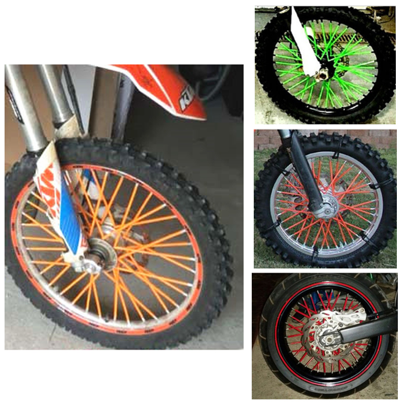 motocross dirt bike enduro wheel rim spoke skins covers. Black Bedroom Furniture Sets. Home Design Ideas