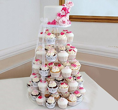 6 Tier Acrylic Round Wedding Cupcake Stand Working Dessert Mousse Cake Stand Muffin Cups Acrylic Wedding Decorative Cake Stand