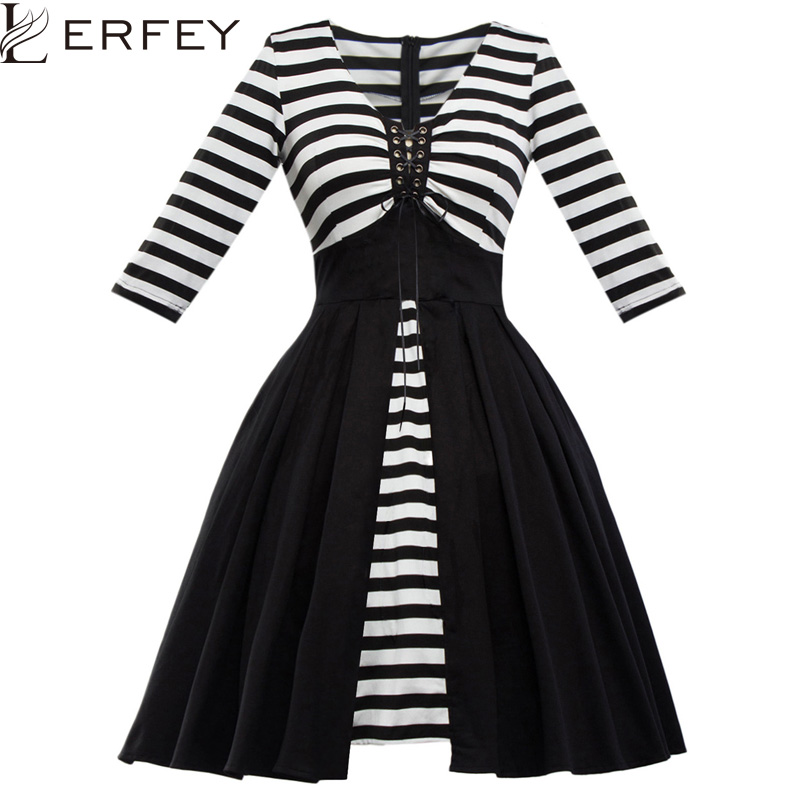 LERFEY Women Vintage Dress Striped Patchwork Elegant Party Dress 50s Rockabilly Pin Up Dress Pleated Vintage
