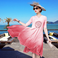 A11ZE482 wholesale 2017 European and American High-end Women's Clothing Embroidery Dress Color Gradient 100% SILK Dress