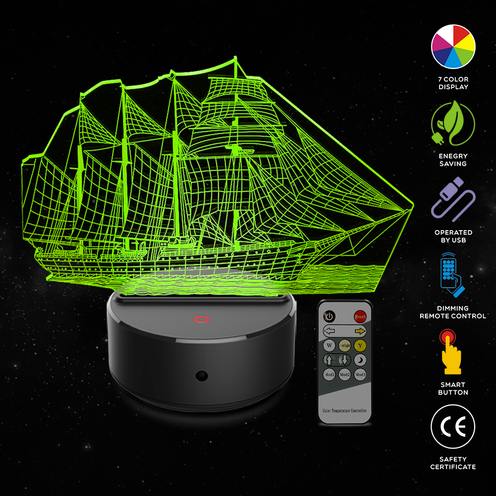 Sailboat Shape 3D Illusion Lamp 7 Color Change Touch Switch LED Night Light Acrylic Desk Lamp Atmosphere Lamp Novelty Lighting