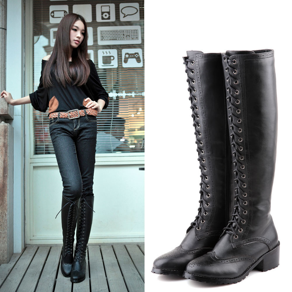 New 2014 Fashion British Style Lace Up Flat Knee High Boots For Women Vintage Women Motorcycle