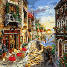 WEEN Town Picture Painting By Numbers On Wall Acrylic European Style DIY Golden Beach Oil Painting Coloring By Number Canvas