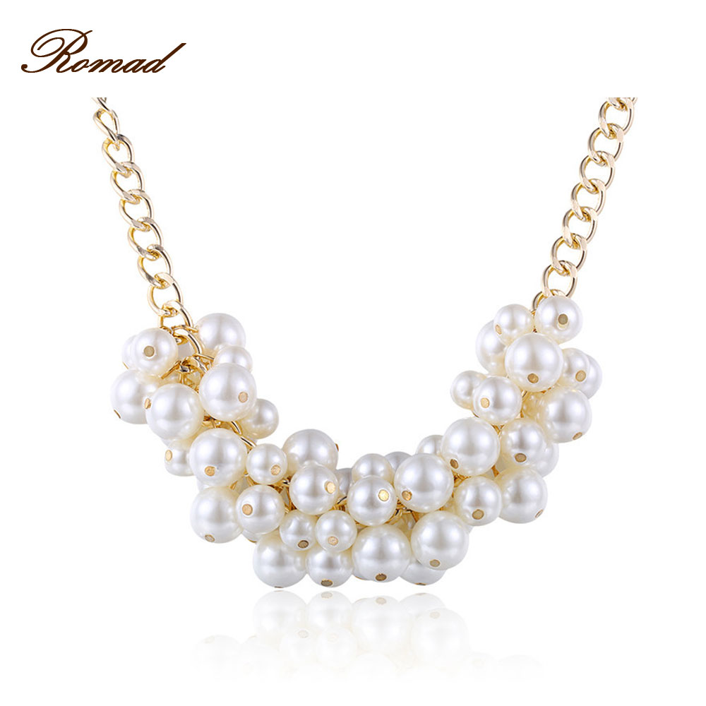 Romad Simulate Pearl Necklace Noble Multilayer Beads Chain Romantic Choker Necklace Simulated Pearl Necklace Fashion Jewelry