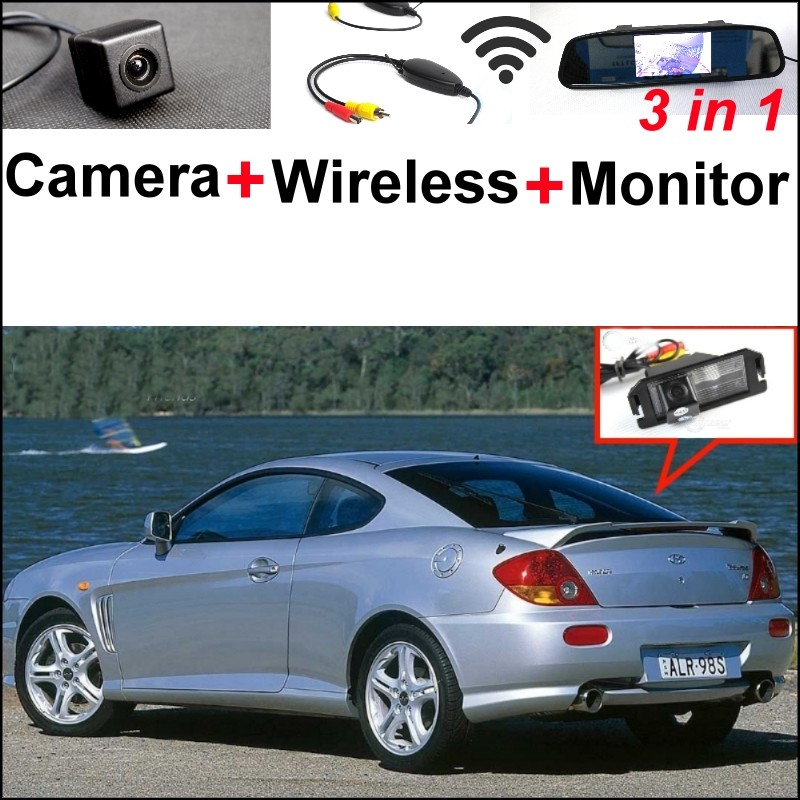 3 in1 Special Rear View Camera + Wireless Receiver + Mirror Monitor Back Up Parking System For Hyundai Coupe S3 Tuscani Tiburon wireless pager system 433 92mhz wireless restaurant table buzzer with monitor and watch receiver 3 display 42 call button