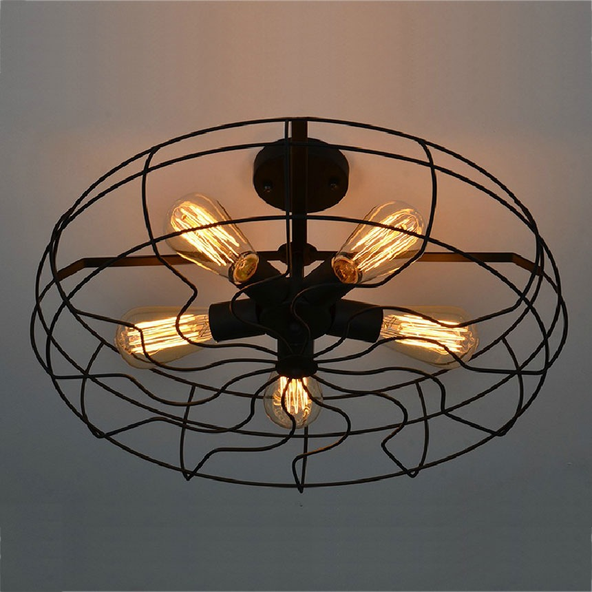 Vintage 5Heads E27 E26 Ceiling Lights  Black Iron Retro Industrial Fan American Country Kitchen Loft Lamp