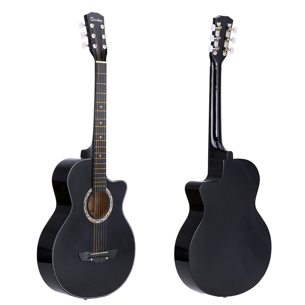 "High Quality 38"" Acoustic Guitar 6 Strings Folk Guitar for Beginners Students Gift 4 Colors Optional"