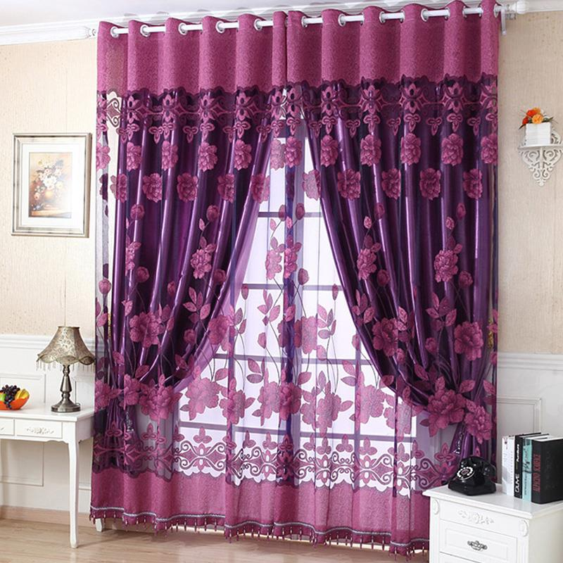Best Price For Flower Tulle Door Decor Window Curtain Drape Panel Sheer Scarf Valances