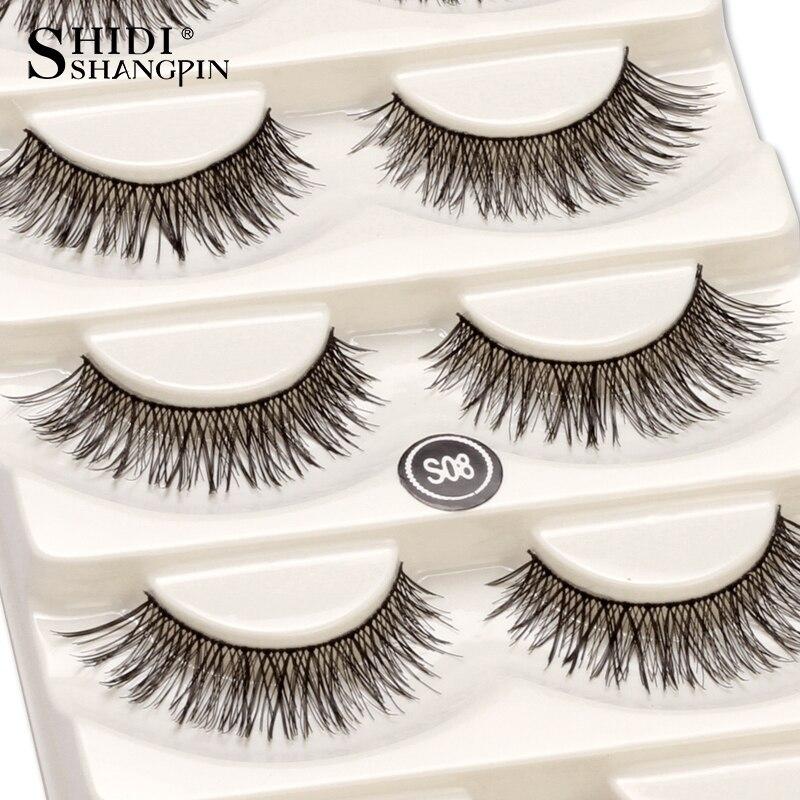 5 pairs/set False Eyelashes Black Cross Fake Eye Lashes Natural Long Makeup Eyelash Extension Fake Eyelashes Wispy Eye Lashes S8