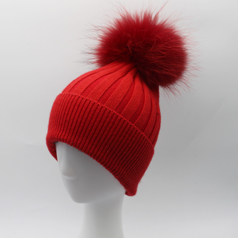 Women Wool Blends Skullies Beanies Hats 15CM Raccoon Fur Pom Pom Lady Winter Genuine Fur Caps Headgear Ear Protector VF4012 skullies