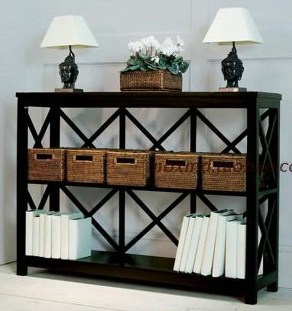 French Country Style Wood Furniture European Retro Side Table Oak Bookcases  Showcase American Country
