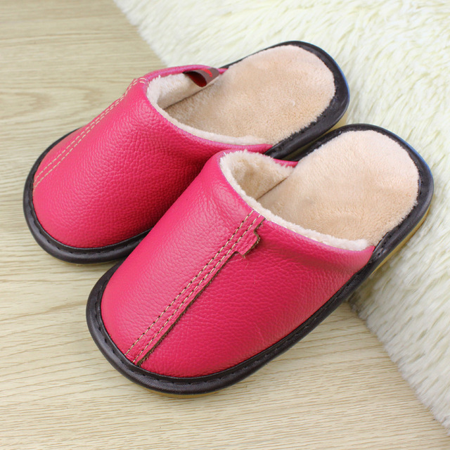Real Leather Indoor Slippers For Kids Slippers Boys Girls Plush Bedroom Baby Fur Warm Winter Cotton Slipper Child Soft Flat