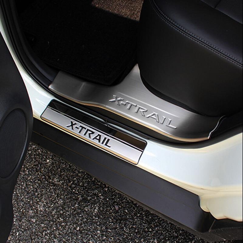 Car styling accessoires pour Nissan x,trail 2014 2015 Porte En Acier Inoxydable Seuil Plat