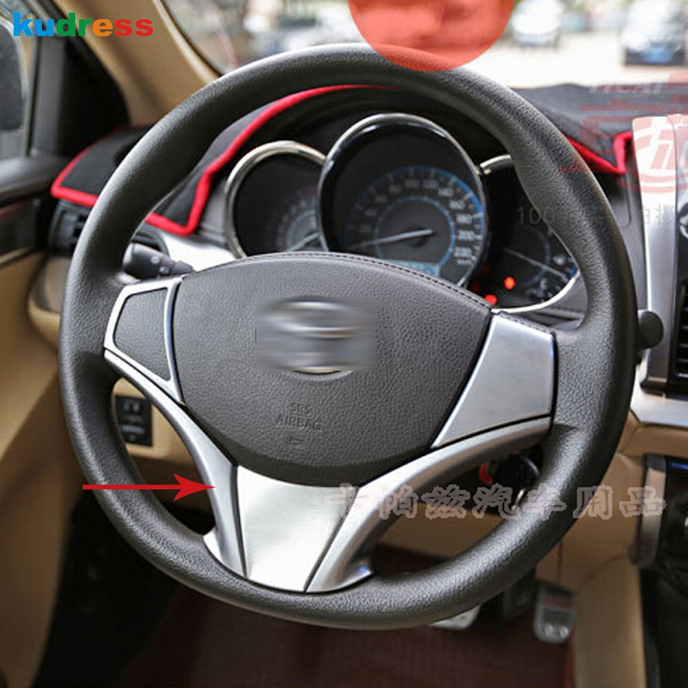 For toyota vios yaris sedan 2013 2014 2015 abs matte steering wheel cover decoration interior accessories