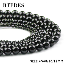 BTFBES Natural Stone Black Carnelian Beads Top Quality Round Ball 4/6/8/10/12MM Onyx Loose For Jewelry Bracelet Making DIY
