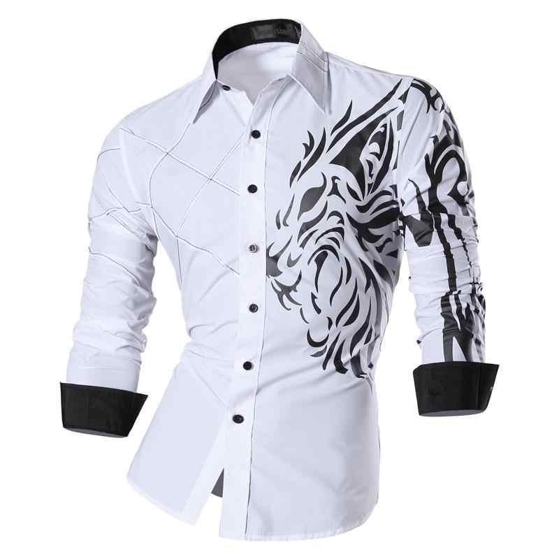 Jeansian 남자 패션 드레스 캐주얼 셔츠 단추 아래로 긴 소매 슬림 맞는 디자이너 문신 사자 Z030 White2